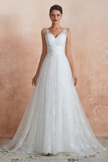 BMbridal Affordable V-Neck Tulle Lace Long White Wedding Dresses Online_3