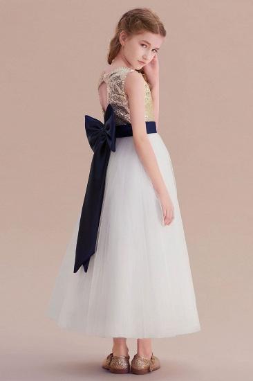 BMbridal A-Line Bow Sequins Ankle Length Flower Girl Dress Online_8