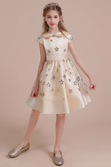BMbridal A-Line Cap Sleeve Star Sequins Tulle Flower Girl Dress Online_5