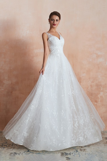 BMbridal Affordable V-Neck Tulle Lace Long White Wedding Dresses Online_6