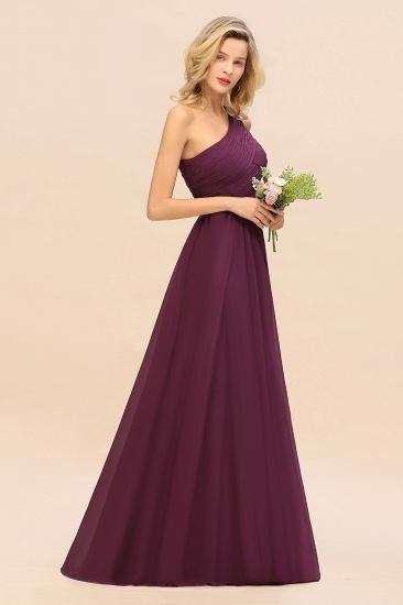 Chic One Shoulder Ruffle Grape Chiffon Bridesmaid Dresses Online_20