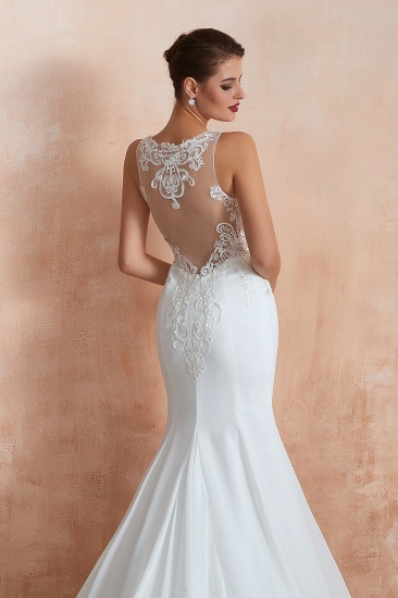 BMbridal Beautiful Mermaid V-Neck White Lace Wedding Dresses Affordable Online_10
