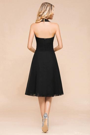 BMbridal Affordable Halter V-Neck Black Short Bridesmaid Dresses Online_3