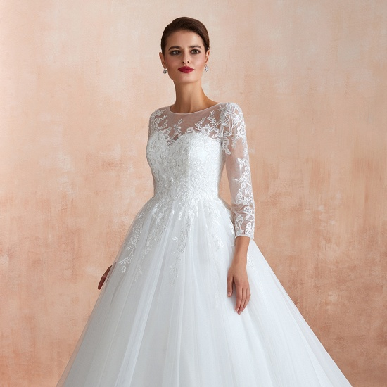 Affordable Lace Jewel White Tulle Wedding Dresses with 3/4 Sleeves_7