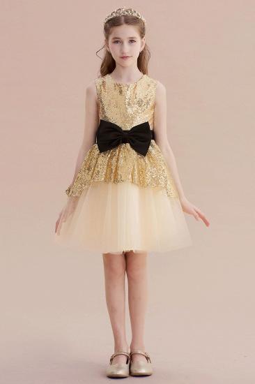 BMbridal A-Line Tulle Sequins Bows Knee Length Flower Girl Dress On Sale_1