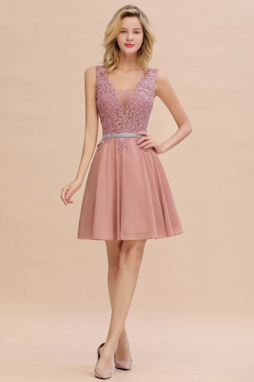 BMbridal Lovely Sleeveless Short Prom Dress Mini Homecoming Dress With Appliques_6