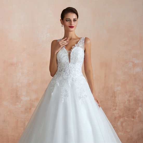 Fantastic Tulle Appliques Sleeveless White Wedding Dresses Online_9