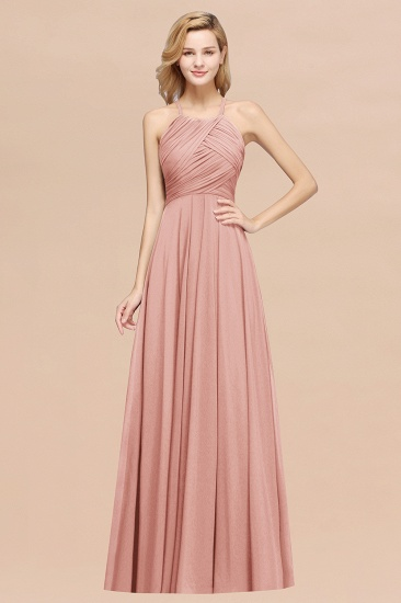 BMbridal Halter Crisscross Pleated Bridesmaid Dress Blue Chiffon Sleeveless Maid of Honor Dress_50