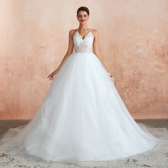 BMbridal Exquisite Lace Halter Ball Gown White Wedding Dress with Open Back_5