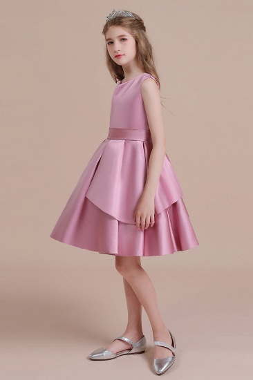 BMbridal A-Line Best Satin Knee Length Flower Girl Dress Online_6