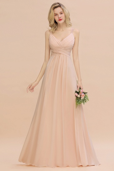 Elegant Spaghetti Straps Pink Backless Bridesmaid Dresses with Beadings_7