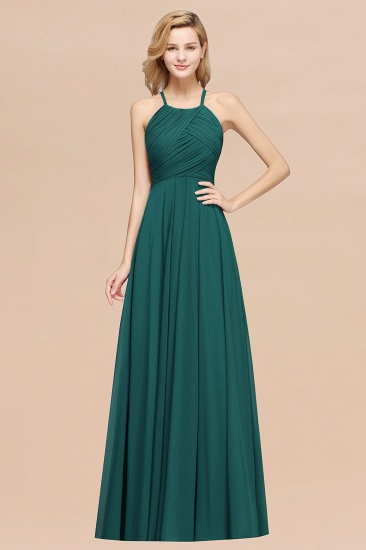 BMbridal Halter Crisscross Pleated Bridesmaid Dress Blue Chiffon Sleeveless Maid of Honor Dress_33