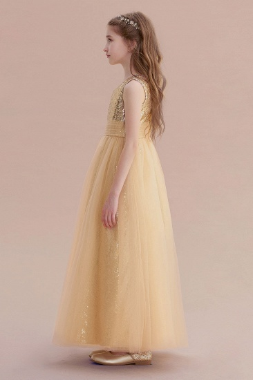 BMbridal A-Line Awesome Sequins Tulle Flower Girl Dress Online_6