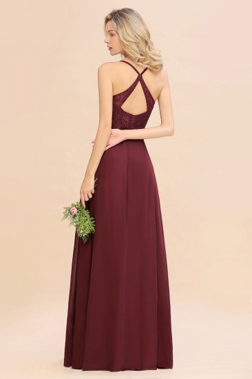 Elegant CrissCross Back Burgundy Lace Bridesmaid Dress With Spaghetti Straps_3