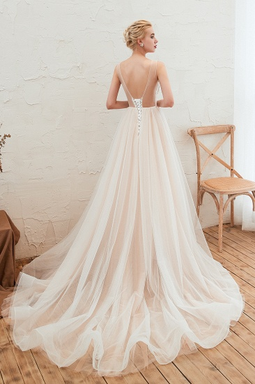 Unique Tulle V-Neck Ivory Affordable Wedding Dress with Appliques_3