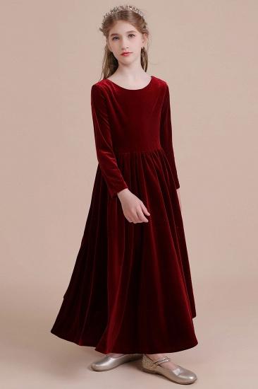 BMbridal A-Line Long Sleeve Velvet Flower Girl Dress On Sale_9