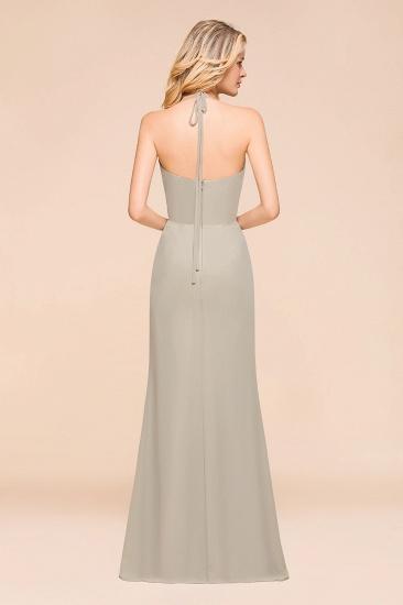 Affordable Halter V-Neck Ruffle Silver Chiffon Bridesmaid Dress Online_3