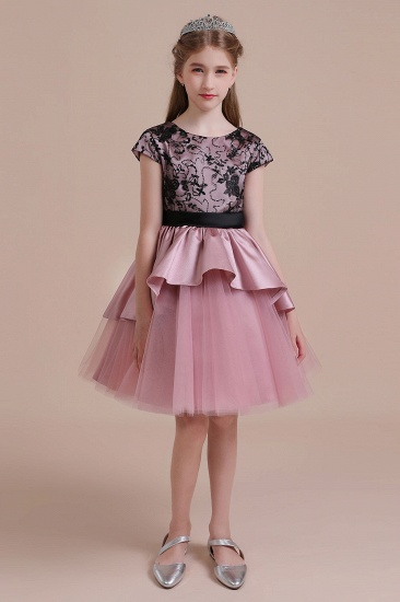 BMbridal A-Line Cap Sleeve Lace Tulle Knee Length Flower Girl Dress On Sale_4