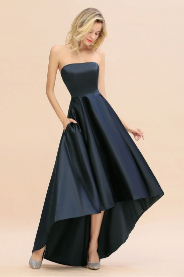 BMbridal Affordable Hi-Lo Strapless Satin Bridesmaid dresses Online_6