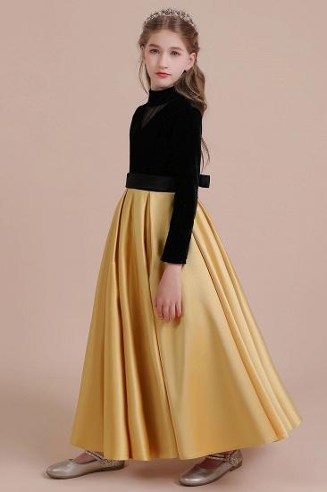 BMbridal A-Line High-neck Velvet Satin Flower Girl Dress Online_7