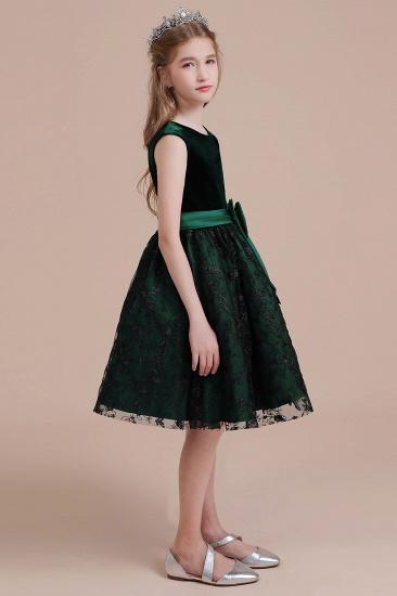 BMbridal A-Line Lace Velvet Knee Length Flower Girl Dress Online_6