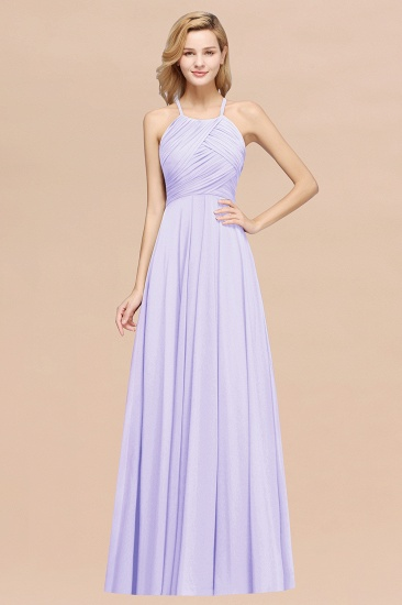 Halter Crisscross Pleated Bridesmaid Dress Blue Chiffon Sleeveless Maid of Honor Dress_21