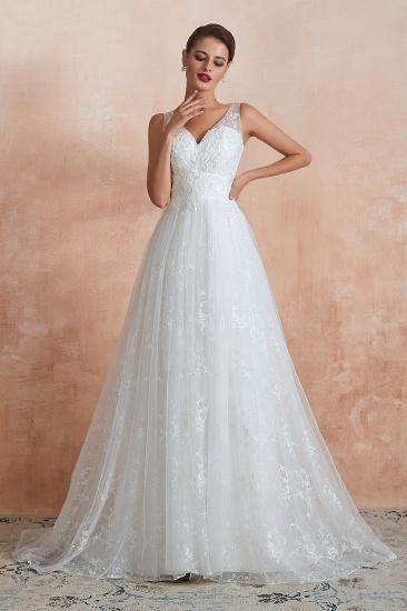 BMbridal Affordable V-Neck Tulle Lace Long White Wedding Dresses Online_5