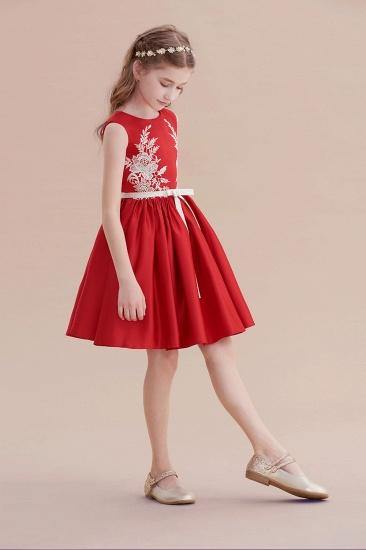 BMbridal A-Line Affordable Appliques Satin Flower Girl Dress Online_6