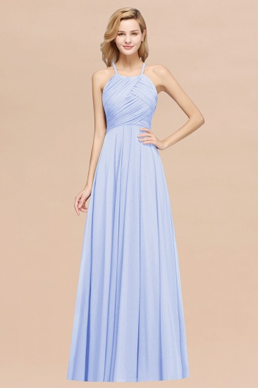 Halter Crisscross Pleated Bridesmaid Dress Blue Chiffon Sleeveless Maid of Honor Dress_22