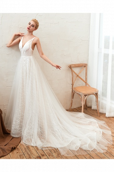 Affordable Tulle V-Neck Long Wedding Dress Online with Appliques_7