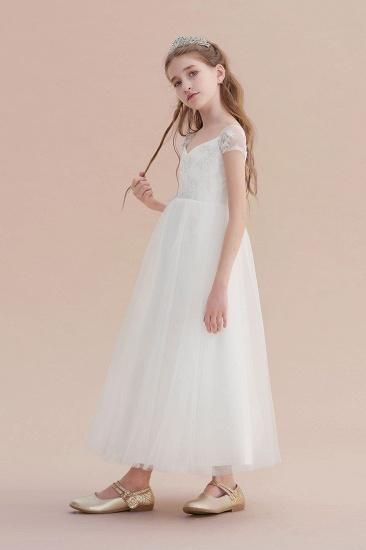 BMbridal A-Line Cap Sleeve Sweetheart Tulle Flower Girl Dress Online_5