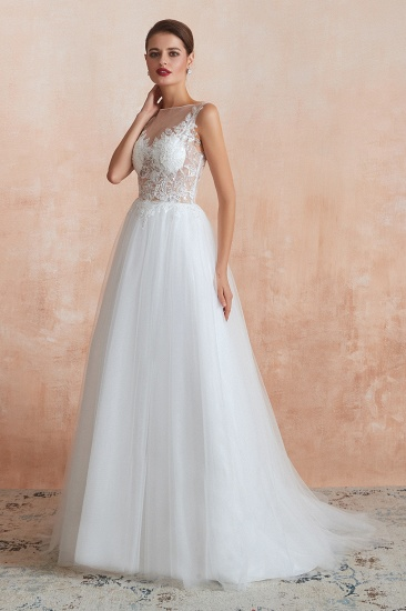 Exquisite Sequins White Tulle Affordable Wedding Dresses with Appliques_4