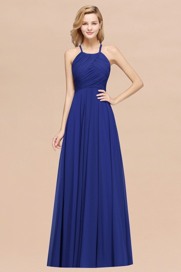 Halter Crisscross Pleated Bridesmaid Dress Blue Chiffon Sleeveless Maid of Honor Dress_26