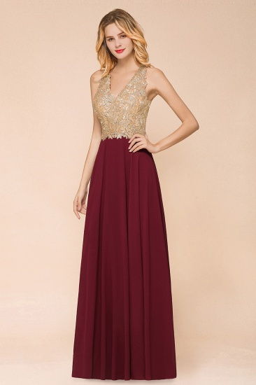 BMbridal Gorgeous V-Neck Burgundy Prom Dress Long Sleeveless Evening Gowns With Appliques_2