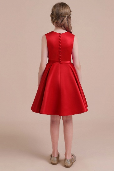 BMbridal A-Line Latest Satin Flower Girl Dress Online_3