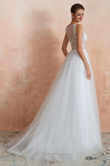 Exquisite Sequins White Tulle Affordable Wedding Dresses with Appliques_6