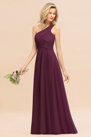 Chic One Shoulder Ruffle Grape Chiffon Bridesmaid Dresses Online_55