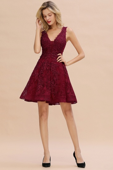 BMbridal Burgundy Sleeveless Lace Short Prom Dress Mini Party Gowns Online_18
