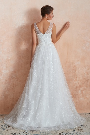 BMbridal Affordable V-Neck Tulle Lace Long White Wedding Dresses Online_4