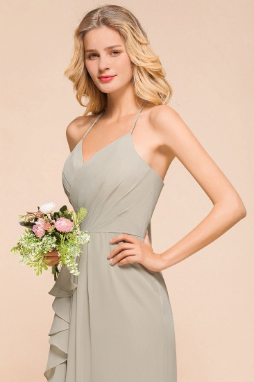 Affordable Halter V-Neck Ruffle Silver Chiffon Bridesmaid Dress Online_8