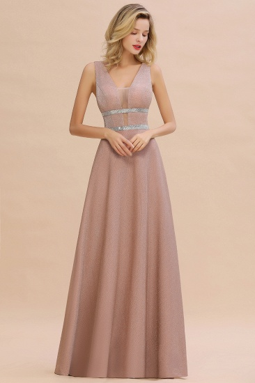 Shinning V-Neck Sleeveless Long Prom Dress Online With Zipper Back_5