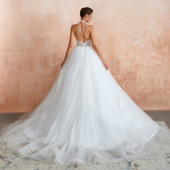 Exquisite Lace Halter Ball Gown White Wedding Dress with Open Back_8
