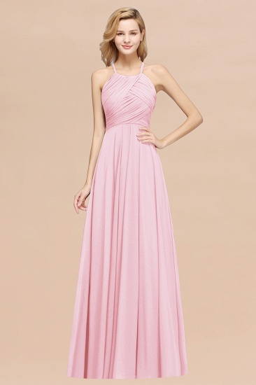 Halter Crisscross Pleated Bridesmaid Dress Blue Chiffon Sleeveless Maid of Honor Dress_4
