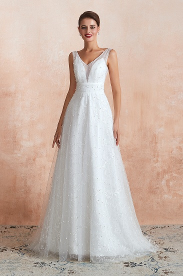 Fantastic V-Neck Sleeveless White Appliques Wedding Dress With Pearls_4