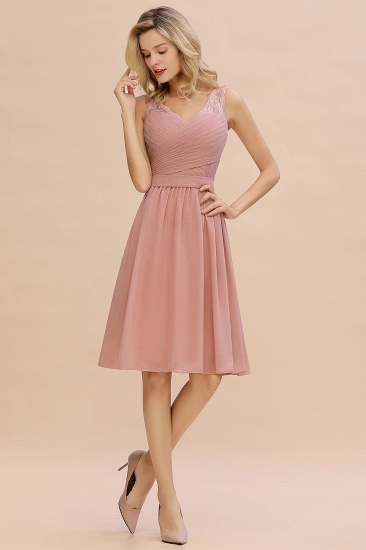 Affordable V-Neck Sleeveless Ruffles Short Lace Bridesmaid dresses Online_6