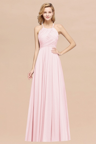 Halter Crisscross Pleated Bridesmaid Dress Blue Chiffon Sleeveless Maid of Honor Dress_3