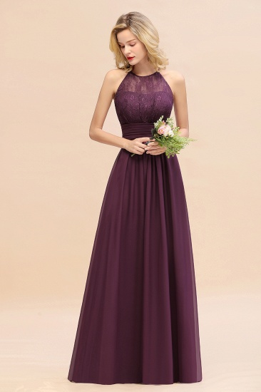 Elegant Halter Ruffles Sleeveless Grape Lace Bridesmaid Dresses Cheap_54
