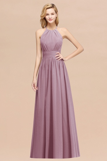 Elegant High-Neck Halter Long Affordable Bridesmaid Dresses with Ruffles_43