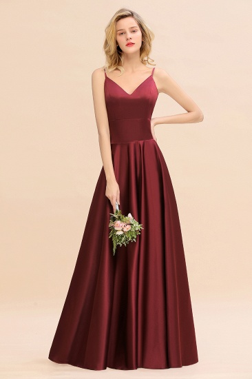 Chic Spaghetti-Straps Burgundy Satin Long Bridesmaid Dress Online_5