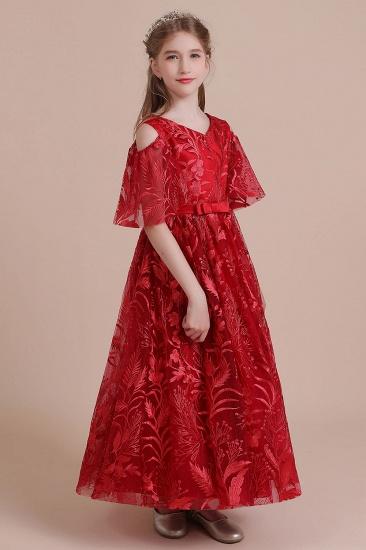 BMbridal A-Line V-neck Tulle Cold-shoulder Flower Girl Dress On Sale_6
